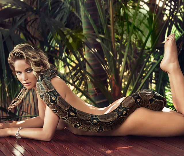 Jennifer Lawrence Hot Sexy Photo With Snake Poster