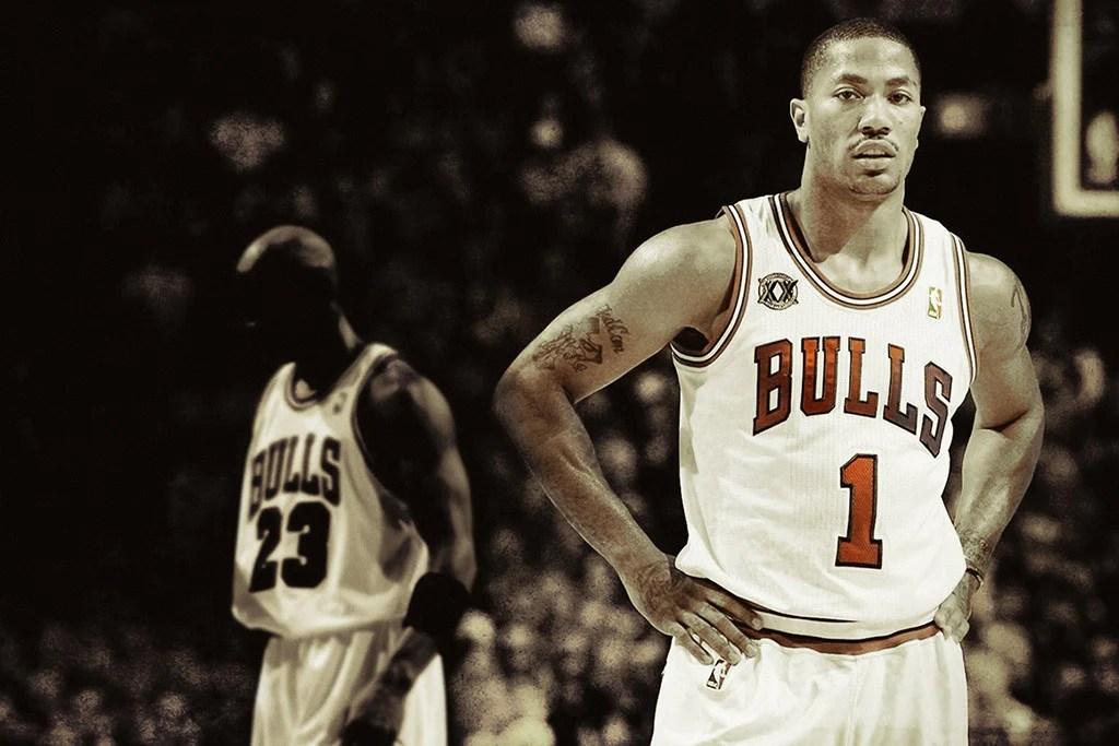 michael jordan derrick rose chicago bulls basketball nba poster