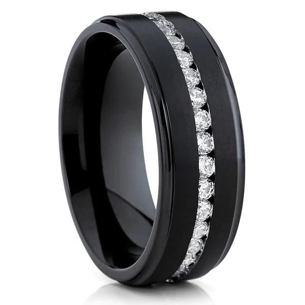 black wedding band titanium wedding ring cz men s wedding ring clean casting