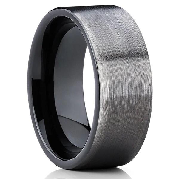 Gunmetal Tungsten Wedding Band Black Ring Tungsten