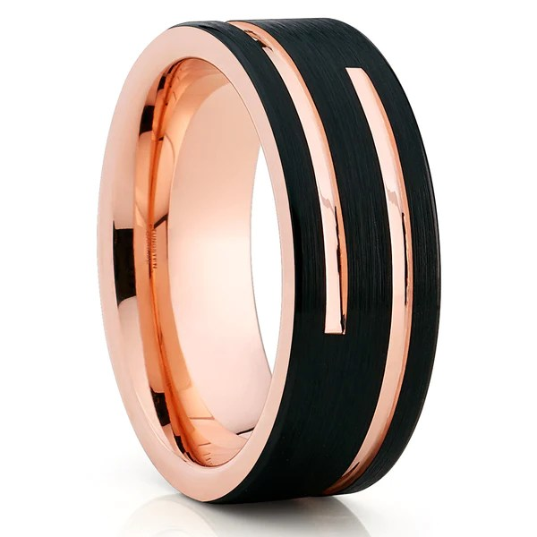 8mm Rose Gold Tungsten Wedding Band Black Tungsten Men