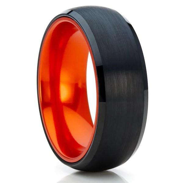 Orange Tungsten Ring Orange Tungsten Band Black
