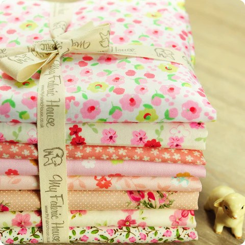 Ditsy - 25x25cm pink floral cotton fabric bundle 8pcs PK1503-03