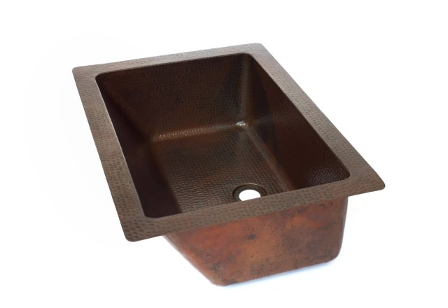 "Rectangular Under Mount Bathroom Copper Sink with 1 5"" Flat Rim"