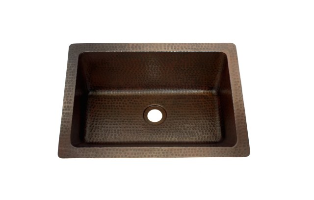 "Oval Under Mount Bathroom Copper Sink with 1"" Rolled Rim 19 x 14"