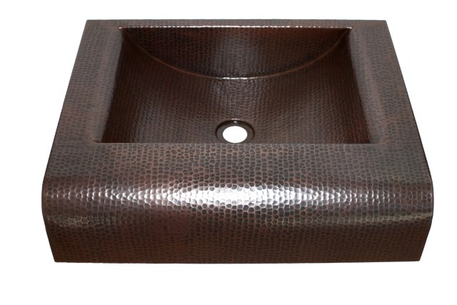 "Rectangular Raised Profile Bathroom Copper Sink with 5"" Apron"