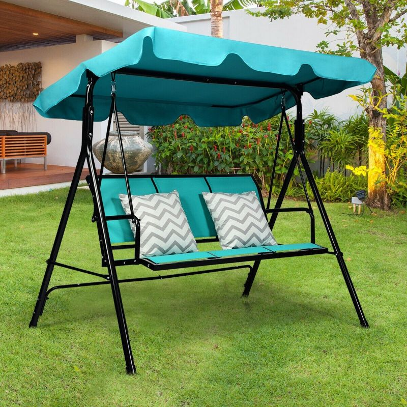 outdoor patio 3 person porch swing bench chair with canopy