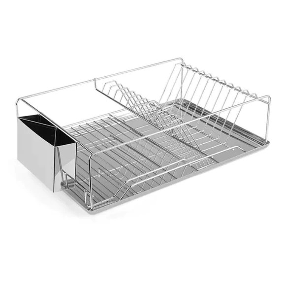 stainless steel dish drying rack with side cup and drain board