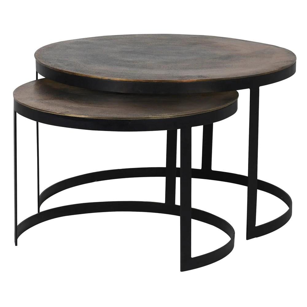 round brass nesting coffee table