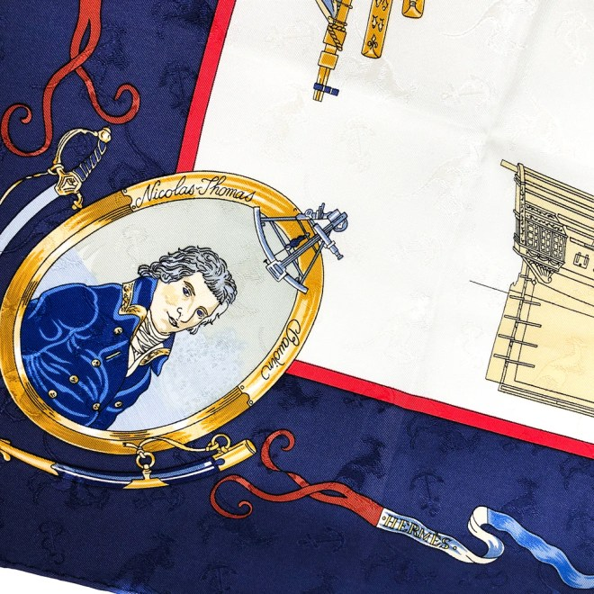 One of the explorers of Australia is depicted on this Hermes scarf, Le Geographe