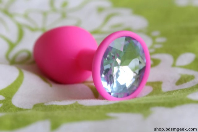 Silicone Princess Plug Small 2 8 Cm Pink Silicone Light Blue Gem