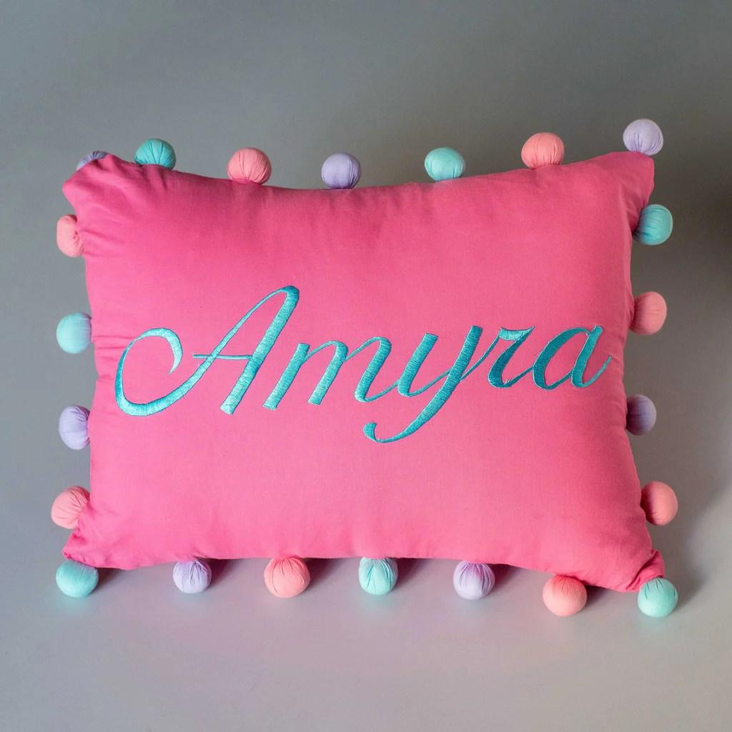 personalised pom pom pillow girl