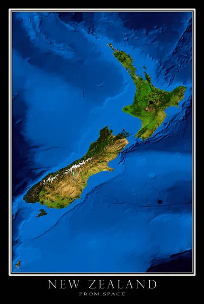New Zealand Blue Marble Satellite Poster Map — aerial ...