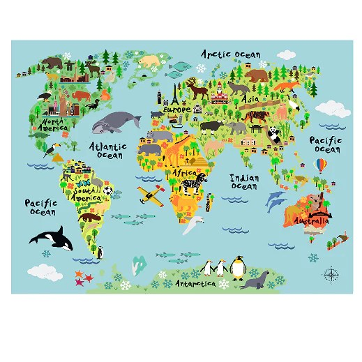 blue water world map poster decal