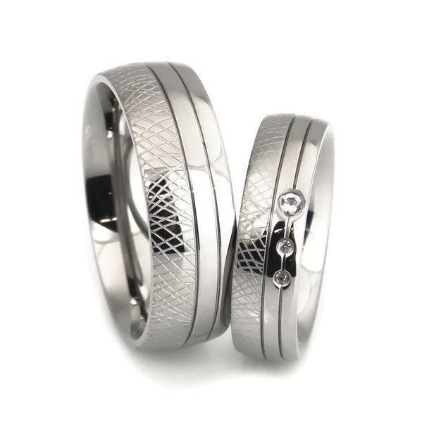 Hand Craft Fish Scale Design Titanium Wedding Bands Set
