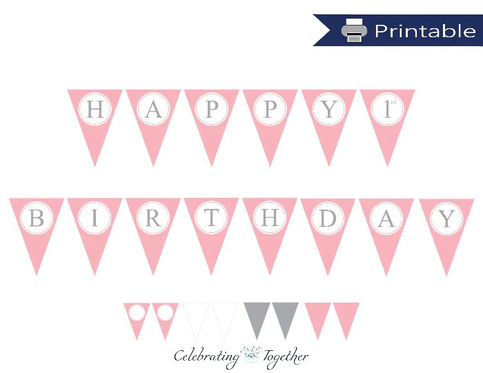 Pink And Grey Girls Printable Happy Birthday Pennant Banner Celebrating Together