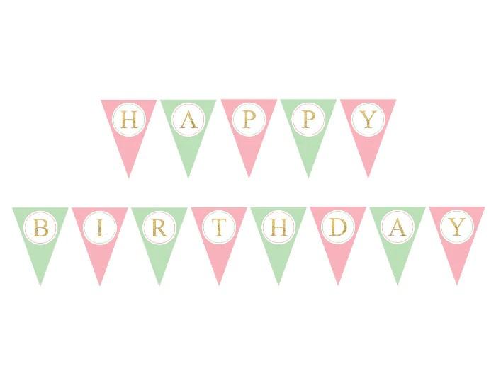 Printable Happy Birthday Pennant Banner Gold Diy Birthday Party Decor Celebrating Together