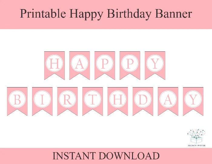 Pink Printable Happy Birthday Banner Diy Birthday Party Decor Celebrating Together