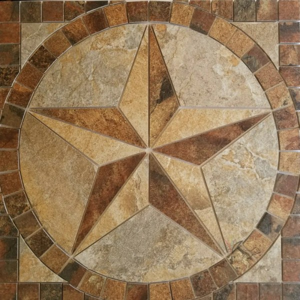 Texas Star Floor Medallion   Customized with Your Choice of Tile     Texas Star Tile floor medallion custom made from porcelain tile