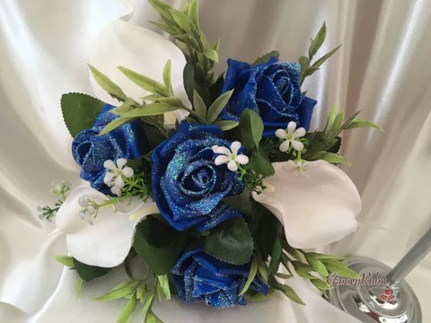Royal Blue Glitter Roses Amp Large White Calla Lily