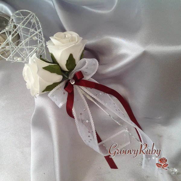 Silver Heart Flower Girl Wand With Burgundy Ribbons