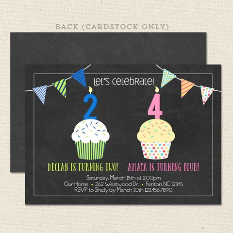 Birthday invitations combined party onvacationsite joint birthday party invitations lil sprout greetings m4hsunfo