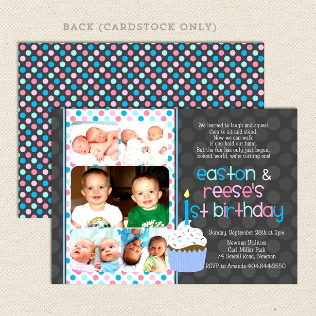 1st birthday twin party invitations