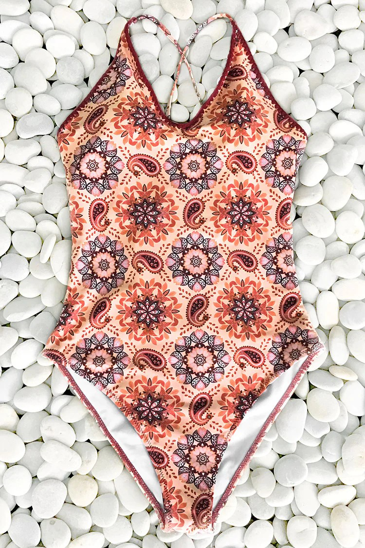 Like Fanta Print One-piece Swimsuit