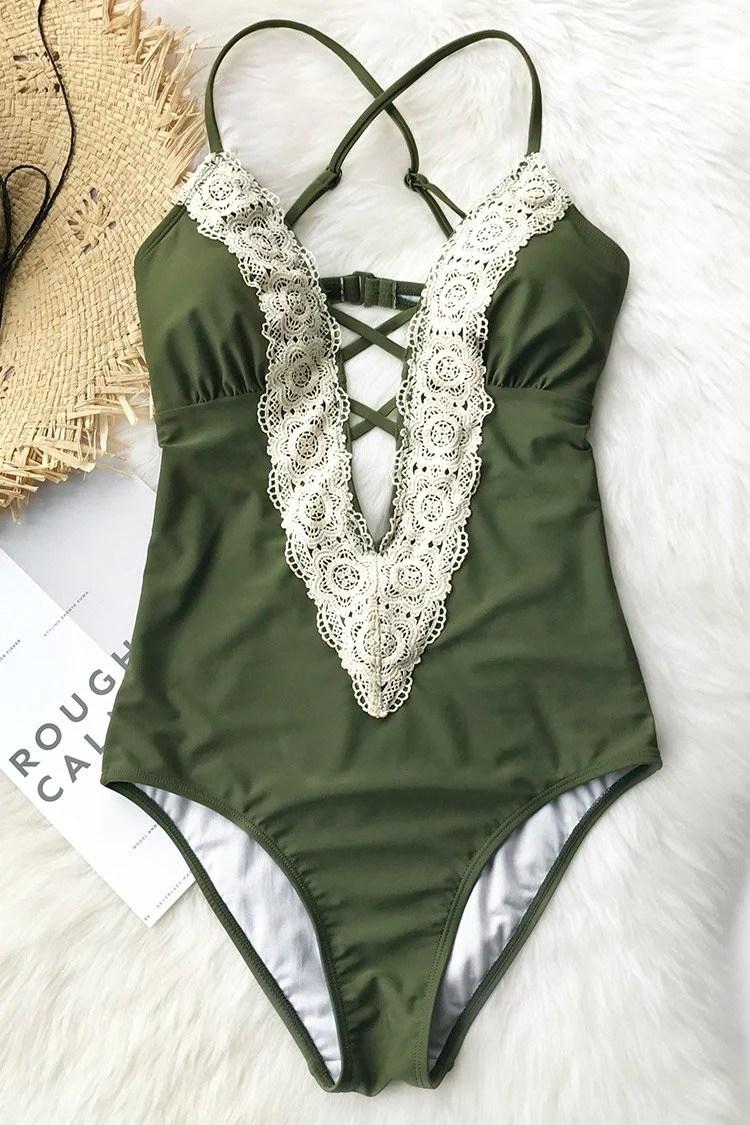 Ladies Vintage Lace One-piece Swimsuit