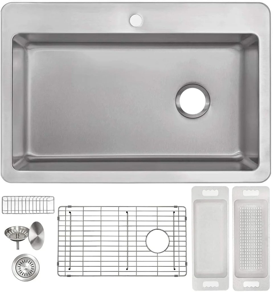 zuhne offset drain kitchen sink 16 gauge stainless steel 33 by 22 drop in top mount