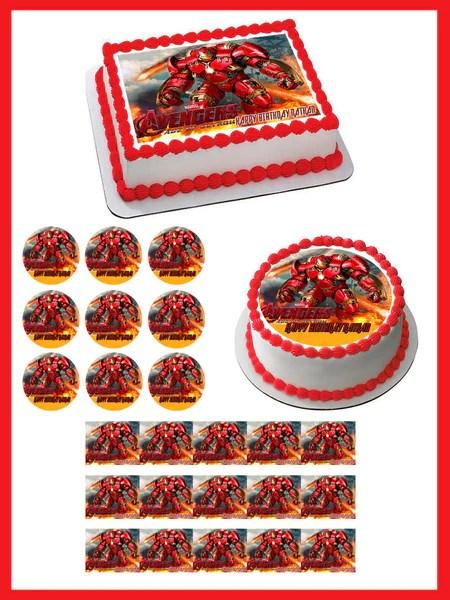 Iron Man Hulkbuster Edible Cake Topper Amp Cupcake Toppers