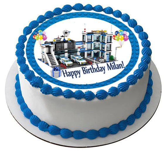 Lego City Police Station 4 Edible Birthday Cake Or Cupcake