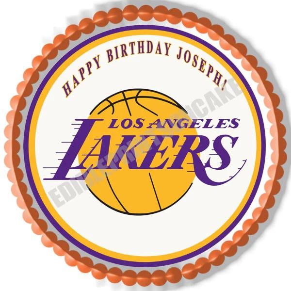 Los Angeles La Lakers Edible Cake Or Cupcake Topper