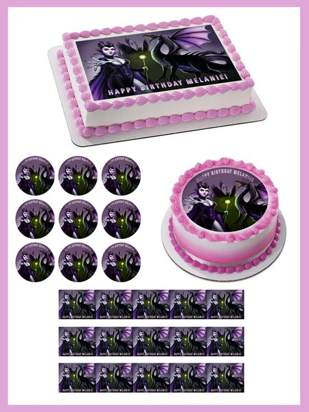 Maleficent 1 Edible Birthday Cake Or Cupcake Topper