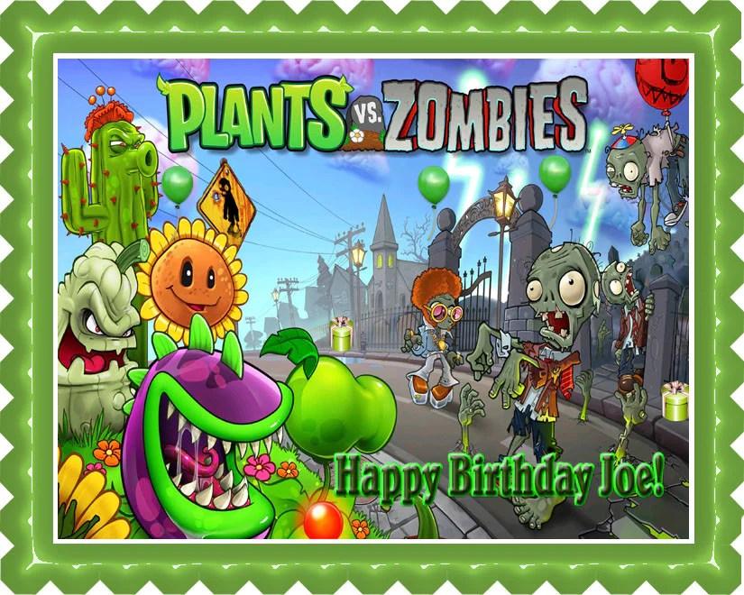 Plants Vs Zombies 1 Edible Birthday Cake Or Cupcake Topper Edible Prints On Cake Epoc