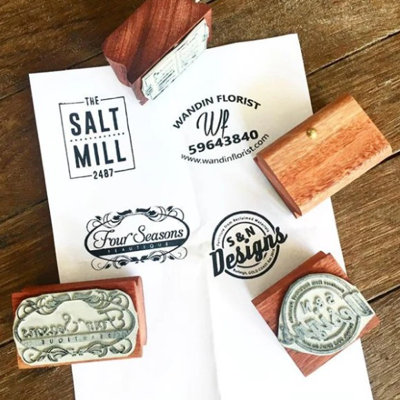 Custom made vintage style wooden stamp - business logo or ...