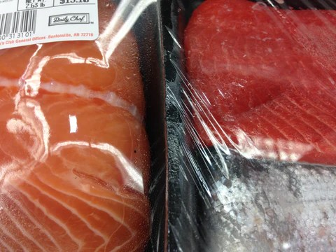 Photo of deep red wild salmon (at right) with paler orange farmed salmon on left.
