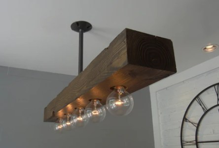 Recessed Wood Beam Chandelier   5 light     West Ninth Vintage     Recessed Wood Beam Chandelier   5 light