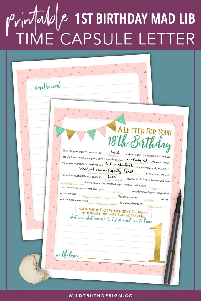 Girl S First Birthday Time Capsule Letter Printable Mad Lib Download Wild Truth Design Co
