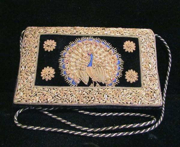 1940 S Black Velvet Clutch Purse Art Deco Hand Embroidered
