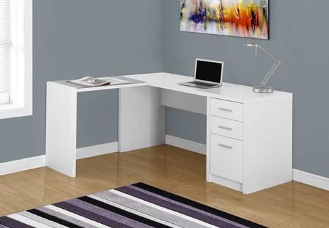 bureau d ordinateur blanc en coin verre trempe monarch i7136