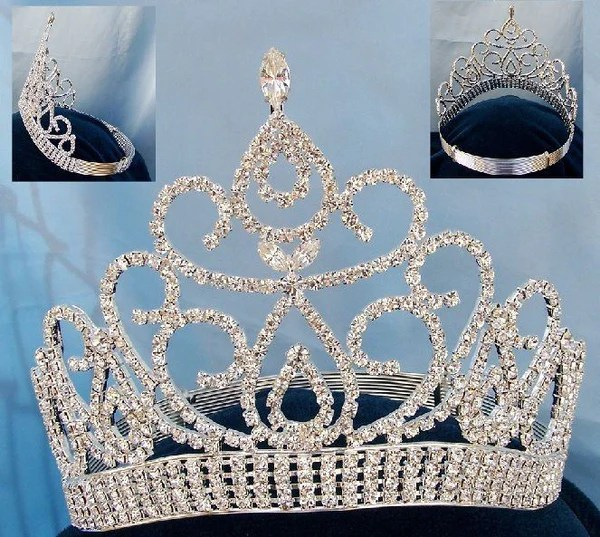 Beauty Pageant Silver Contoured Crown Tiara CrownDesigners