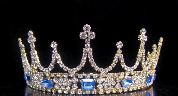 Victorian Style Gold Rhinestone Adjustable Crown Tiara