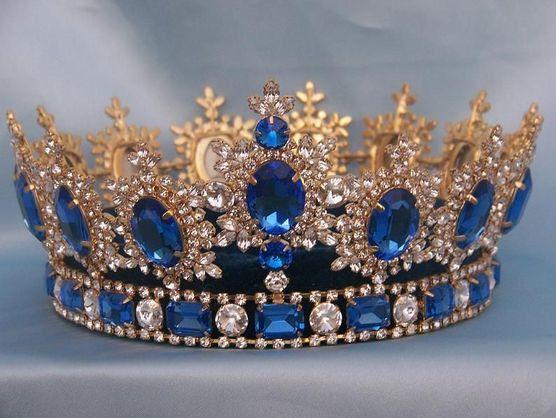 Mens Unisex Rhinestone Gold Full Royal Blue Sapphire