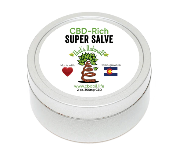 That's Natural Super Salve - CBD-Rich Super Salve (300mg CBD per 2 oz tin) - This moisture-locking salve will stay on your skin and provide maximum skin relief.  Ingredients include hydrating Organic Beeswax, nourishing Organic Shea Butter, soothing Organic Lavender and major moisture-enhancing oils like Organic Olive, Jojoba, and Coconut.  Find online at www.cbdoil.life, cbdoil.life, www.thatsnatural.info, thatsnatural.info and at the Thats Natural Life Force Market!