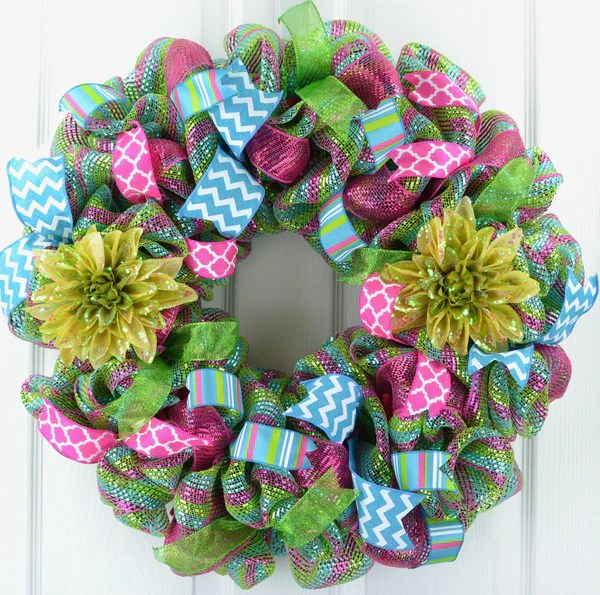 Wreath Door Spring Summer FLOWERS Lime Green Pink Teal
