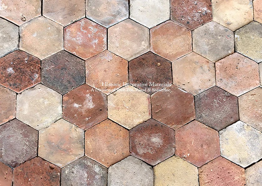 new in stock lot french reclaimed hexagon terra cotta tile item pa119 sold