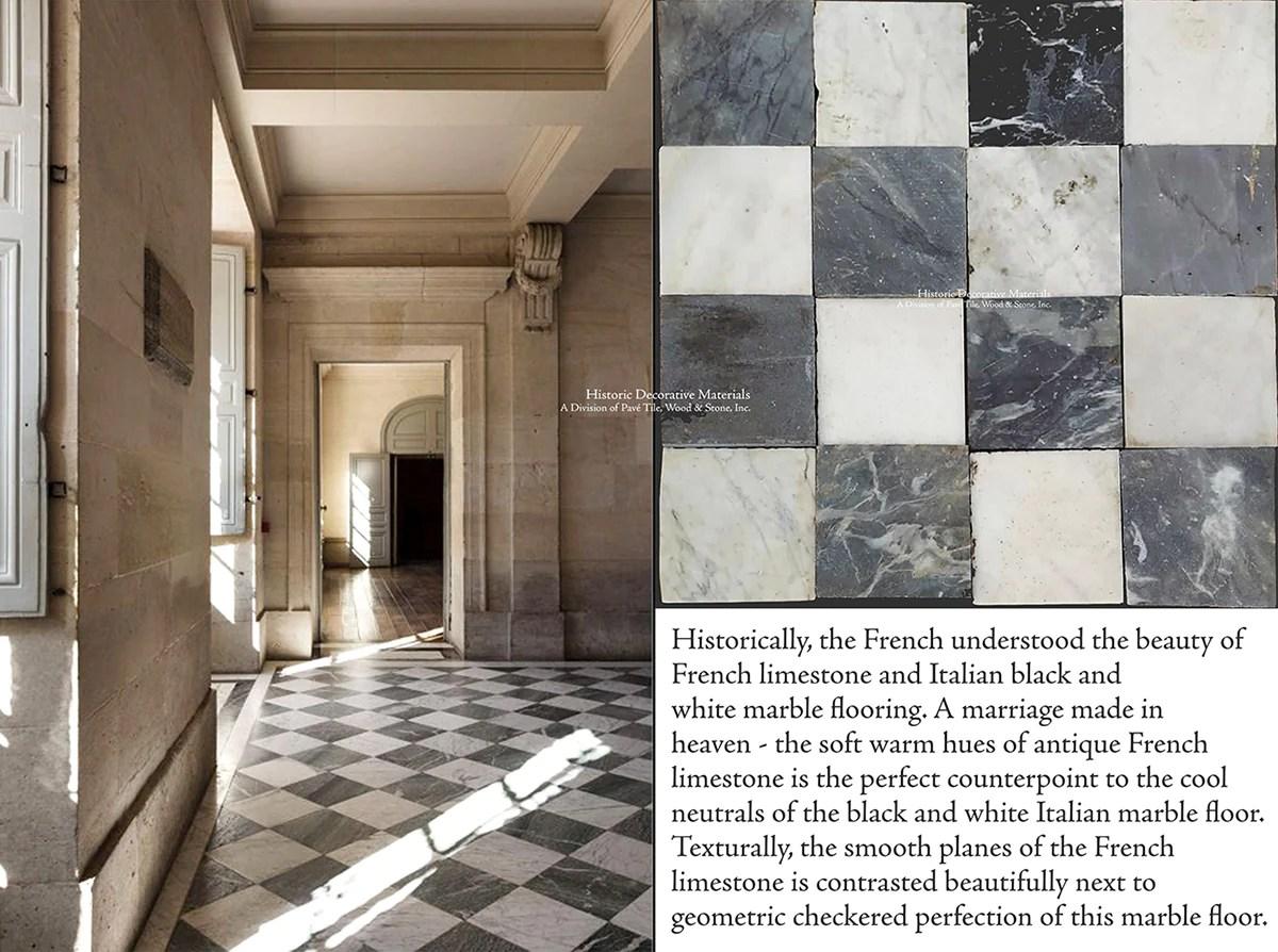 antique italian black and white nero bianco carrara marble checkered stone flooring