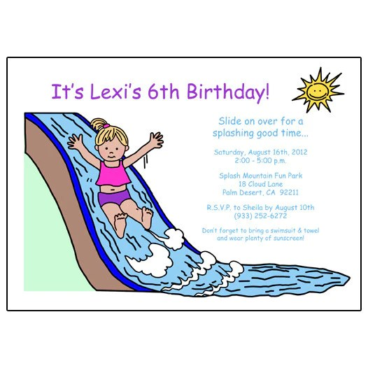 water slide birthday party invitation girl