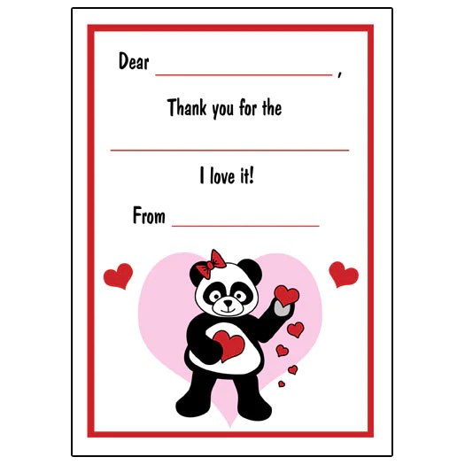 Valentines Panda Fill In Thank You Note Cards For Kids